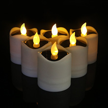 6pcs/set Solar Candles Flameless Rechargeable White LED Tea Lights Candles Battery Operated Waterproof Candle Garden Outdoor