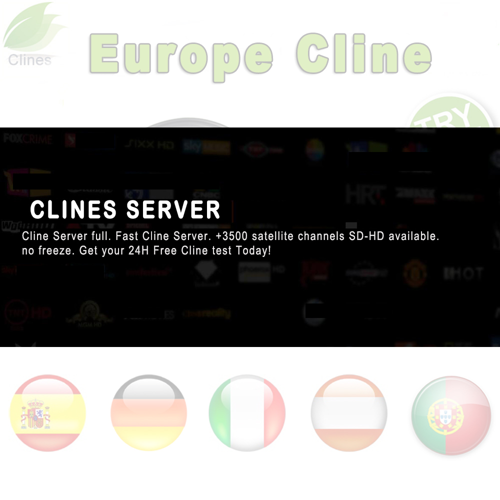 spain clines 1 Year HD Cline cable for Europe clines HD DVB S2 Satellite tv Receiver 5 6 7 lines Support in Portugal Italy uk in Satellite TV Receiver from Consumer Electronics