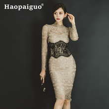 Plus Size Hollow Out Corset Lace Dress Women Long Sleeve Contrast Dress Women Solid Bandage Bodycon Dress Summer 2019 Vestidos plus contrast lace teddy