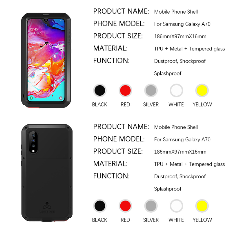 Image 5 - Waterproof 360 Full Body Protective Case For Samsung Galaxy A70 Case Shockproof Aluminum Metal Back Cover For Samsung A70 Cases-in Fitted Cases from Cellphones & Telecommunications