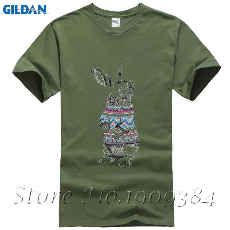 Big Size Bunny With Christmas Sweater Mens Shirt Unique White Short Sleeve Custom Family Tshirts
