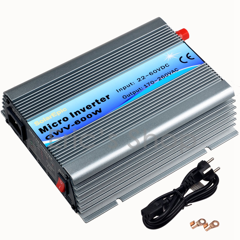 600W Grid Tie Inverter DC22V-60V to AC230V Pure Sine Wave Power Inverter for 60cells/72cells 50Hz/60Hz Auto With MPPT Function mini power on grid tie solar panel inverter with mppt function led output pure sine wave 600w 600watts micro inverter