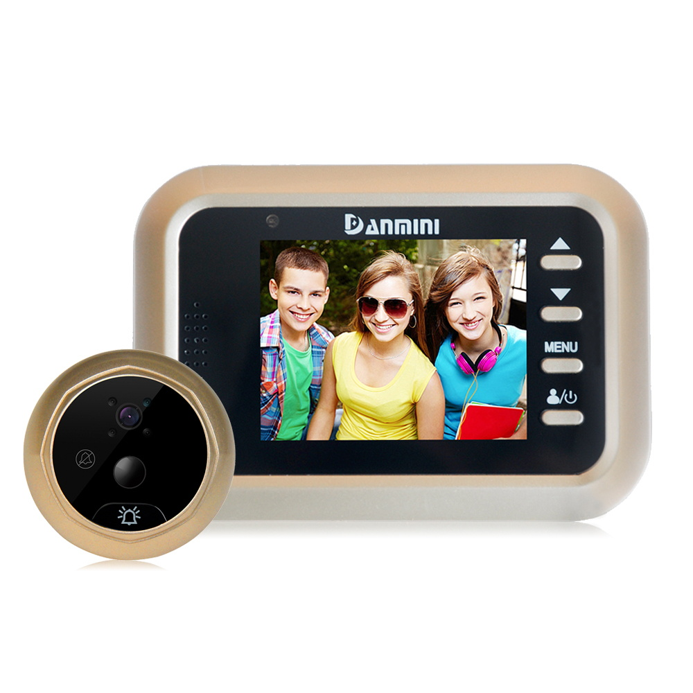 DANMINI Q8 2.4 LCD Color Screen PIR Motion Detection Video Doorbell Digital Door Peephole Viewer HD IR Night Vision Door Camera original danmini 3 0 tft lcd color screen door peephole viewer ir led night vision light doorbell 145 degrees view angle system