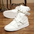 2017 GD justin Hip hop street dance Boots Buckle Punk rivet Ankle Platform Combat Boots Shoes lace-up white shoes