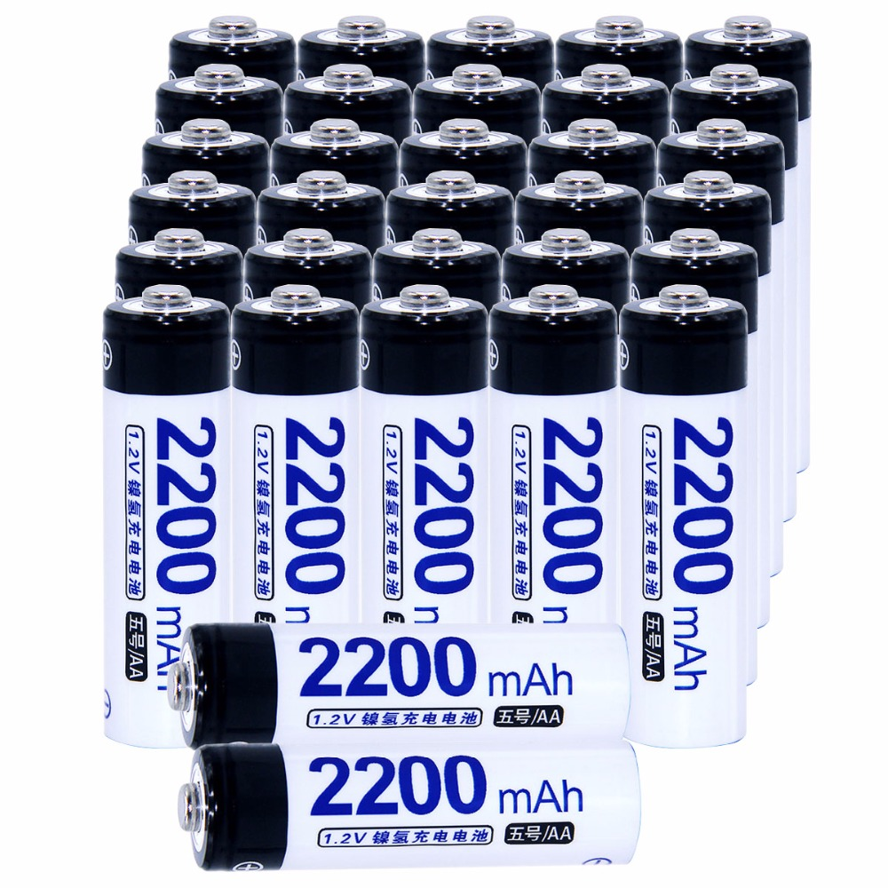 Real capacity! 32 pcs AA portable 1.2V NIMH AA rechargeable battery 2200mah for camera razor toy remote control flashlight 2A