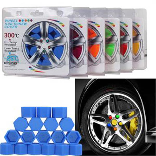 17mm, Blue 20pcs//set Auto Car Silicone Wheel Lug Nut Bolt Cover Tyre Dust Screw Cap Night Luminous Wheel Nut Protective Cap Wheel Screw Size 17//19//21mm