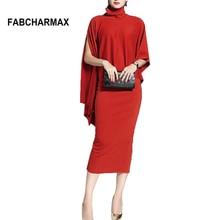 2018 new fashion modal two piece red cape dress for women turtleneck cloak sleeve lady elegant dress sexy mid-calf pencil dress