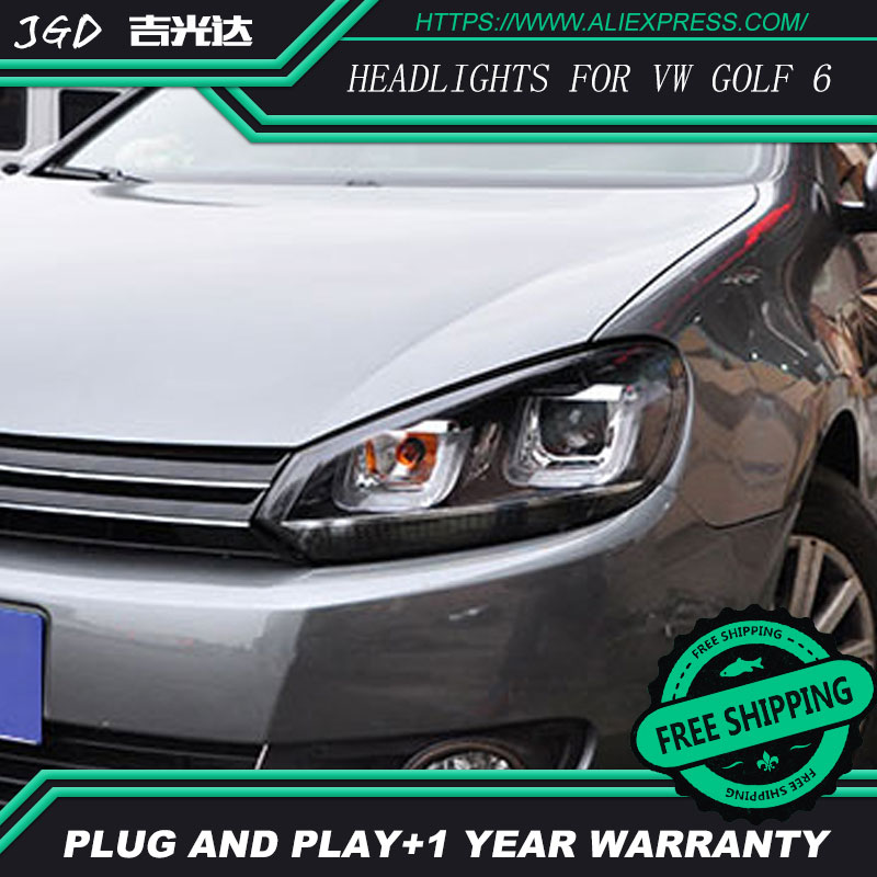 Car Styling Head Lamp case for VW Golf 6 GTI Headlights 2010-2012 golf mk6 GTI LED Headlight DRL Hid Option Angel Eye Bi Xenon rhino tuning 2pc styling car led under mirror puddle light smd lighting for golf 6 gti cabriolet touran