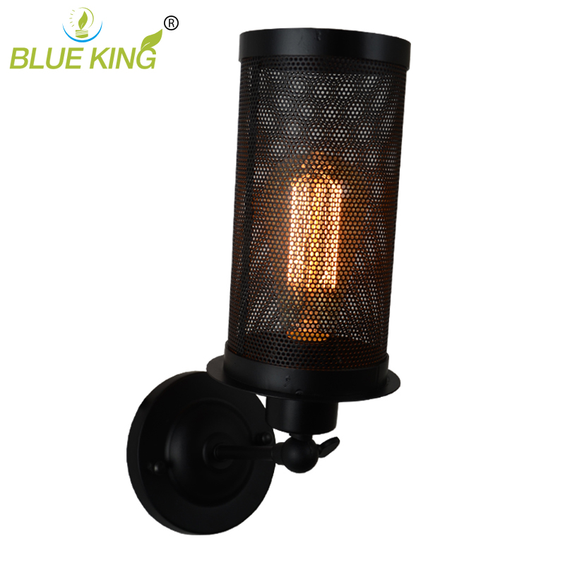 Vintage Retro Industrial Lights Iron Net Wall Lamps Fixtures Industrial Black  Metal Cage Wall light  E27 Edison Bulb new arrival iron net black adjustable double head lights wall mounted lamp industrial vintage wall lights for bar aisles e27