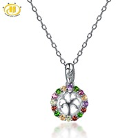 Hutang Multi Color Gemstones Family Tree Pendant Solid 925 Sterling Silver Necklace Natural Amethyst Fine Jewelry