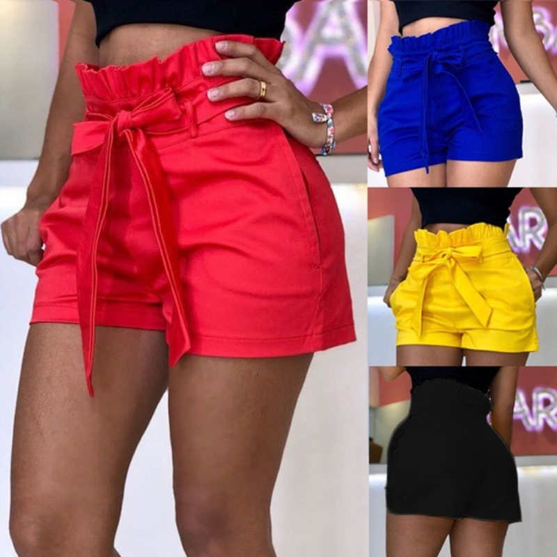 Fashion Summer Women Shorts Ladies Harem Elastic Waist Baggy Cotton Linen Casual Plain Shorts Oversize Casual Belt Beach Trouser