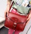 Nova moda bolsas de Alta Qualidade PU de couro de pele de óleo Mulheres saco Coreano retro temperamento saco menina bolsa de ombro Fêmea vinho Tinto