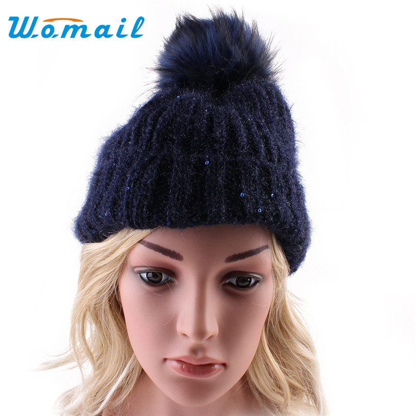 Womail winter beanies hat for women knitted wool Skullies cap with Ball pompom gorros invierno bonnet femme 2017  Gift 1pc wool skullies cap hat 10pcs lot 2289