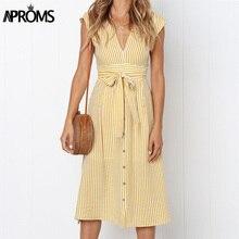 Aproms винтажное Полосатое платье миди с принтом женское элегантное глубокий v-образный Вырез Пояс завязывается платья женские летние уличные сарафаны
