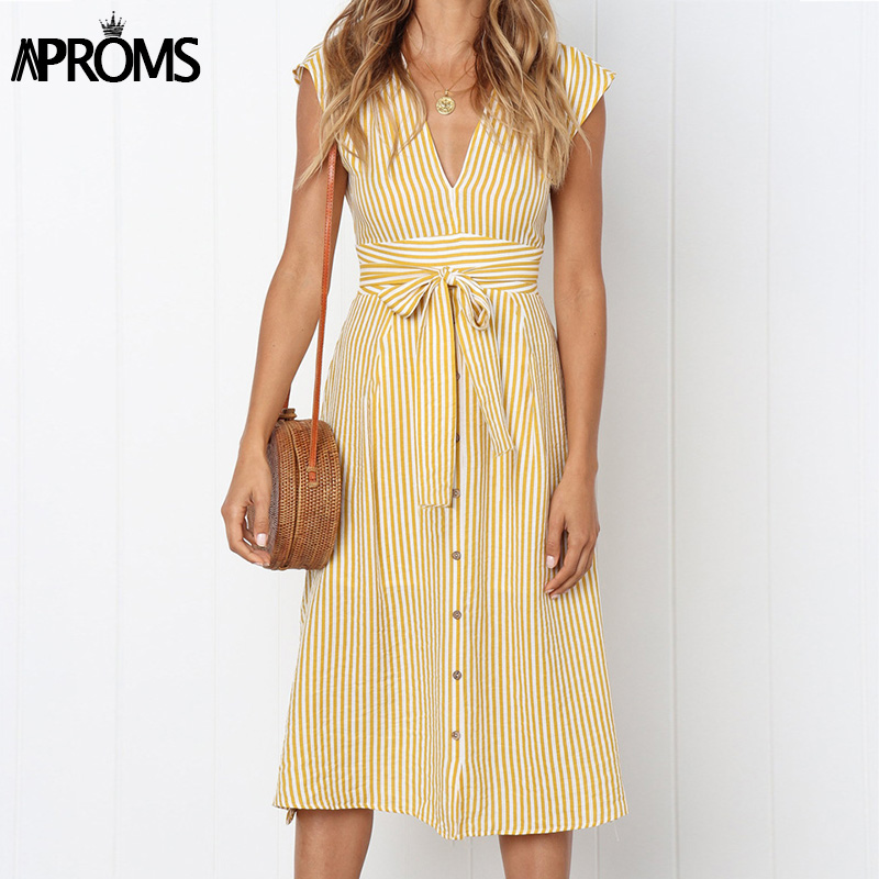Aproms Vintage Stripe Print Midi Dress Women Elegant Deep V Sash Tie Up Bodycon Dresses Female Summer Streetwear Sundresses 2019