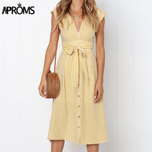 Aproms Vintage Stripe Print Midi Dress Women Elegant Deep V Sash Tie Up Bodycon Dresses Female Summer Streetwear Sundresses 2019(China)