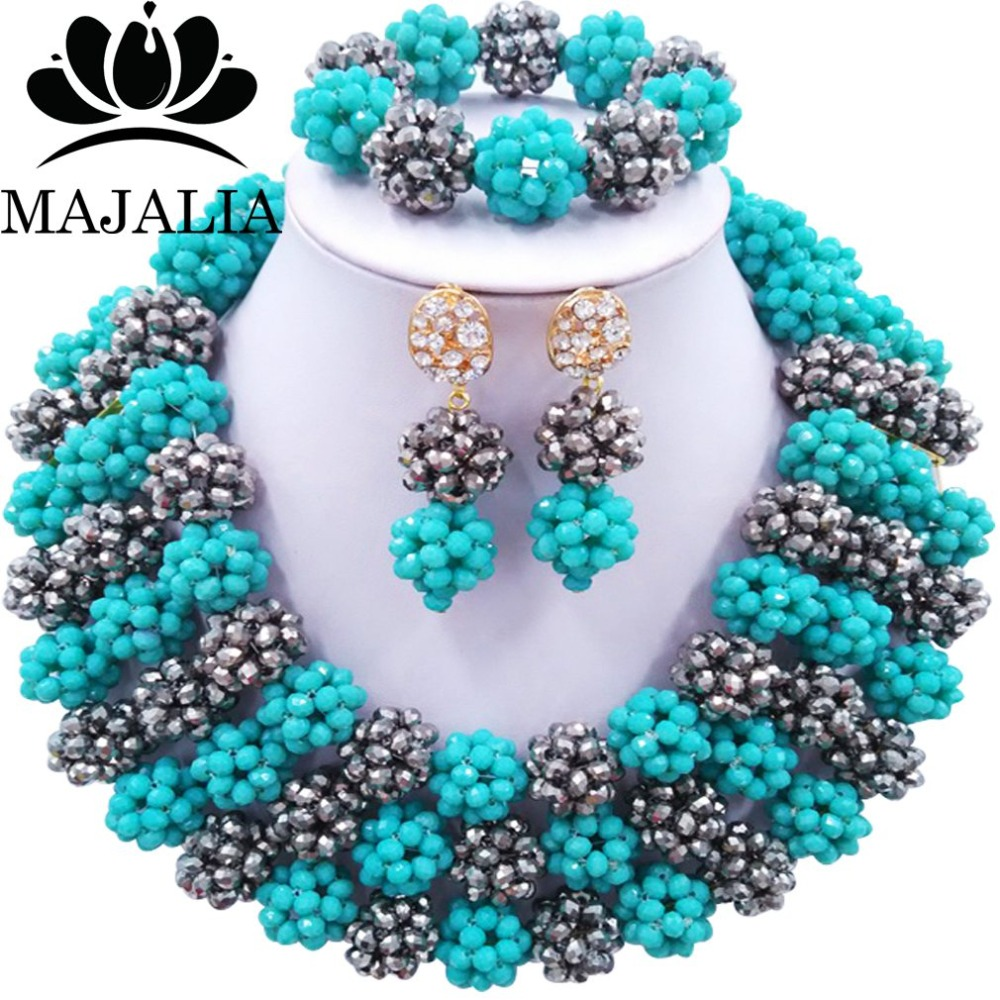 Trendy Nigeria Wedding Silver african beads jewelry set Crystal necklace bracelet earrings Free shipping Majalia-158Trendy Nigeria Wedding Silver african beads jewelry set Crystal necklace bracelet earrings Free shipping Majalia-158