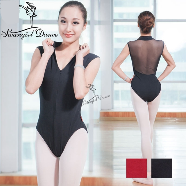 adult black ballet leotards with back-mesh,adult ballerina costumes,dancewear for women CS0160