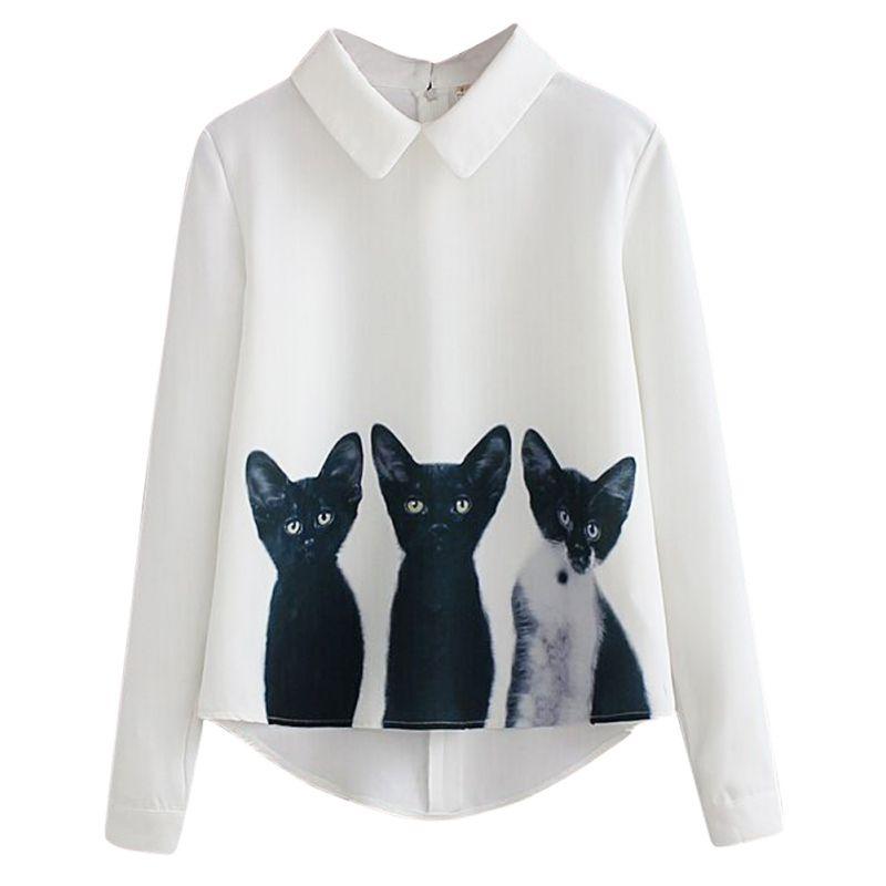 2017 Nueva Moda Gatos Impreso Sudadera Camisetas de Manga Larga Casual Mujeres d