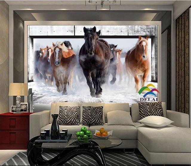 H 2679 Photo wallpaper 3D running horse murals entrance bedroom living room  sofa tv background. H 2679 Photo wallpaper 3D running horse murals entrance bedroom
