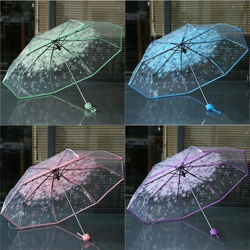 4 Colors Transparent Women Umbrella 2018 Clear Rain Umbrella Cherry Blossom Mushroom Apollo Sakura 3 Fold Umbrella #FG29 (20)