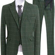 Мужской костюм, приталенный классический смокинг, современные клетчатые костюмы, Блейзер, 3 предмета, твидовый шерстяной формальный деловой костюм, пиджак