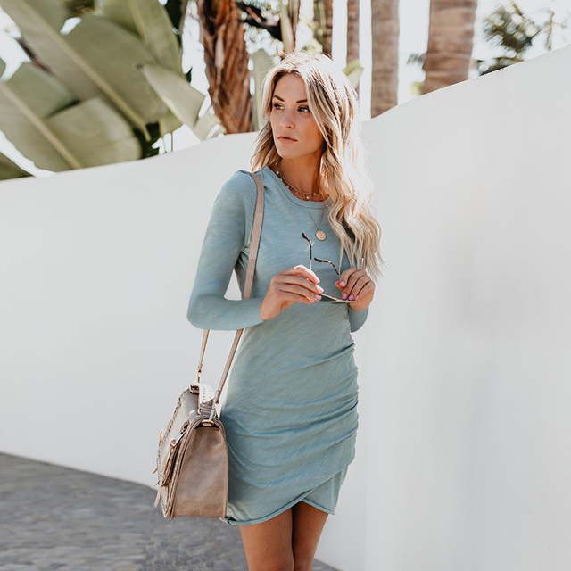 vestidos sexy dress women elegant autumn 2018 fashion o-neck long sleeve cotton mini slim club party dress women winter autumn