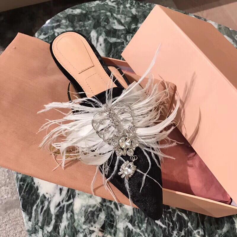 Hanbaidi Mewah Berlian Imitasi Wanita Sandal Mode Beludru Bulu Kaki - Sepatu Wanita - Foto 4