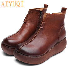 AIYUQI  Shoes women retro 2019 spring new genuine leather shoes platform casual moccasins on the wedge loafers