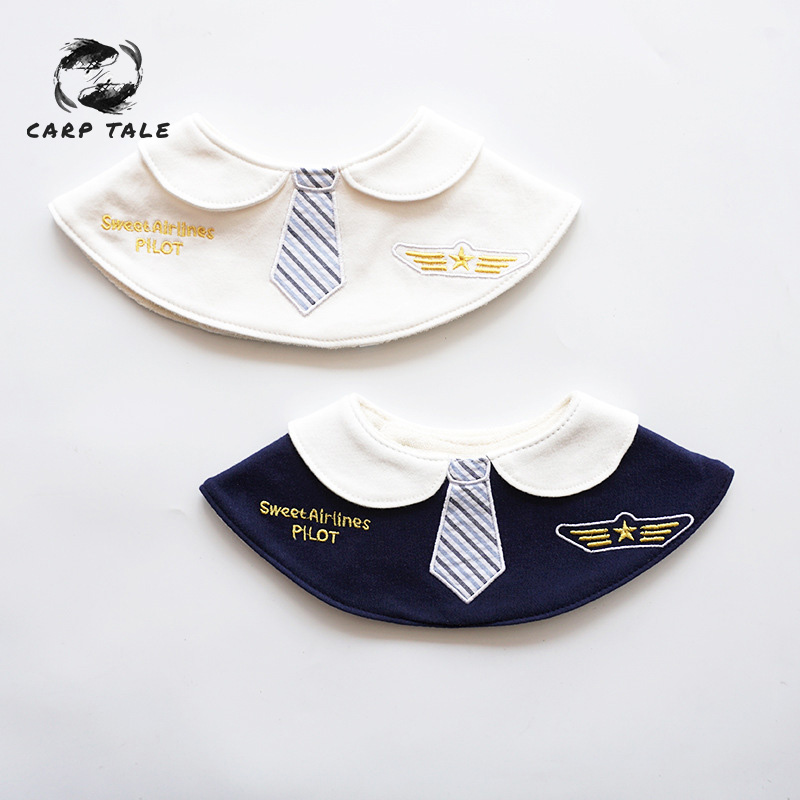 Male baby female baby 360 round rotating cotton bib waterproof embroidery aircraft saliva towel baby bib feeding scarf in Bibs Burp Cloths from Mother Kids