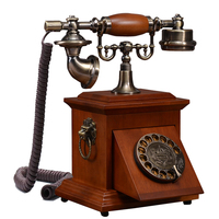 European Antique landine Telephone Set Classical Rotary Dial vintage Telephone revolve phone made of wood retract home office