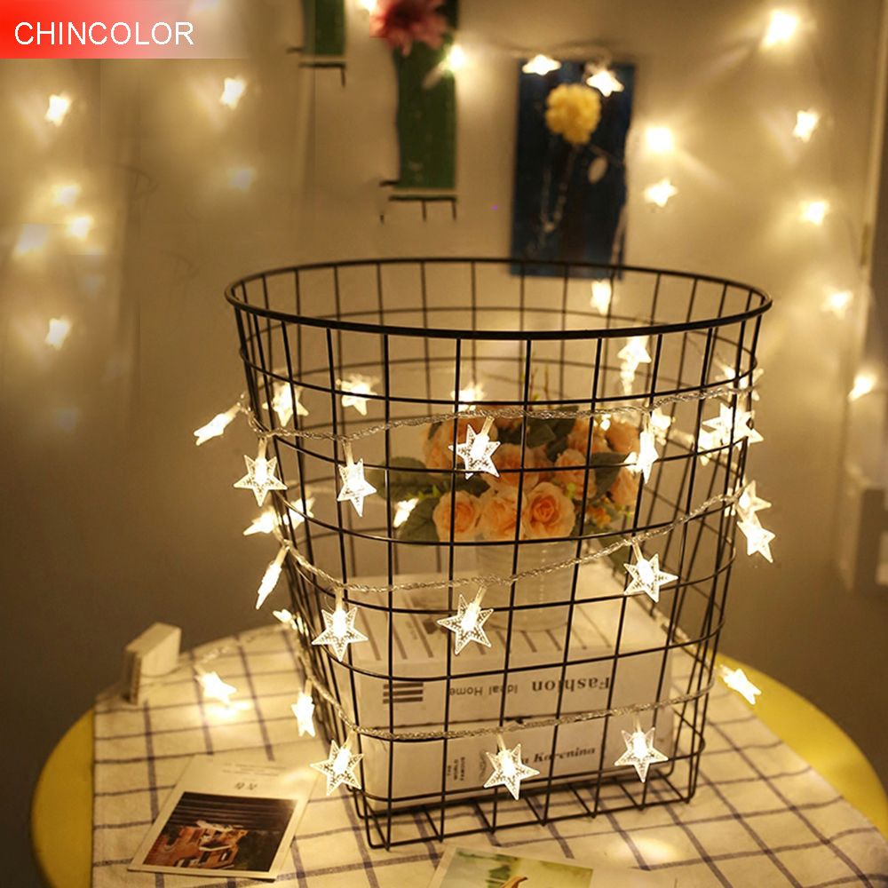 10-40stars Led string Light 1M-5M Length strip Battery box powered for party home kid's room holiday christmas decor W