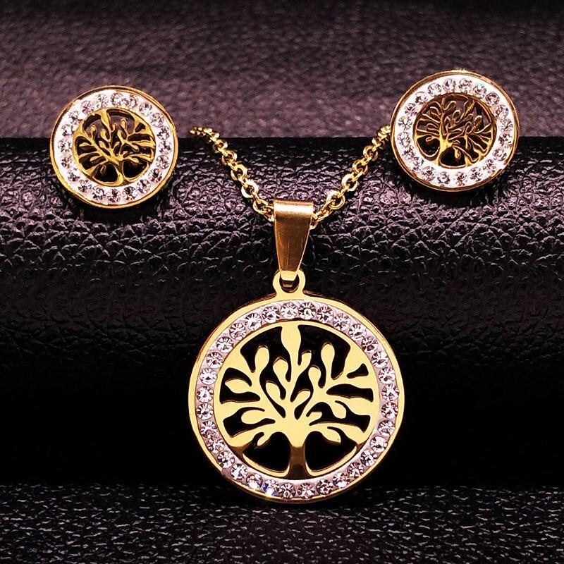 Arbre de Vie En Acier Inoxydable Ensemble de Bijoux Femmes Or Couleur Cristal Collier Boucles D'oreilles Bijoux joyas acero inoxidable mujer 176186