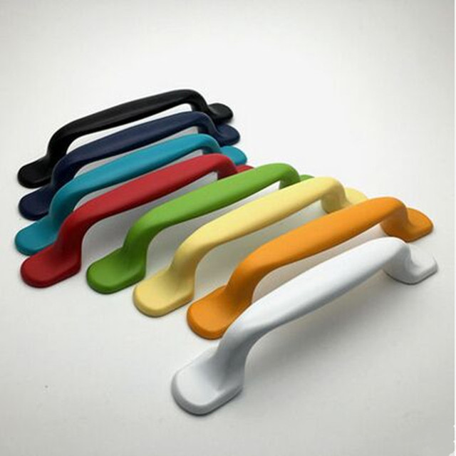 96mm modern fashion colour furniture door handles white black blue ...
