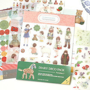 9 sheets diary deco sticker pack include animal & fruit & point index & dot & label & flower