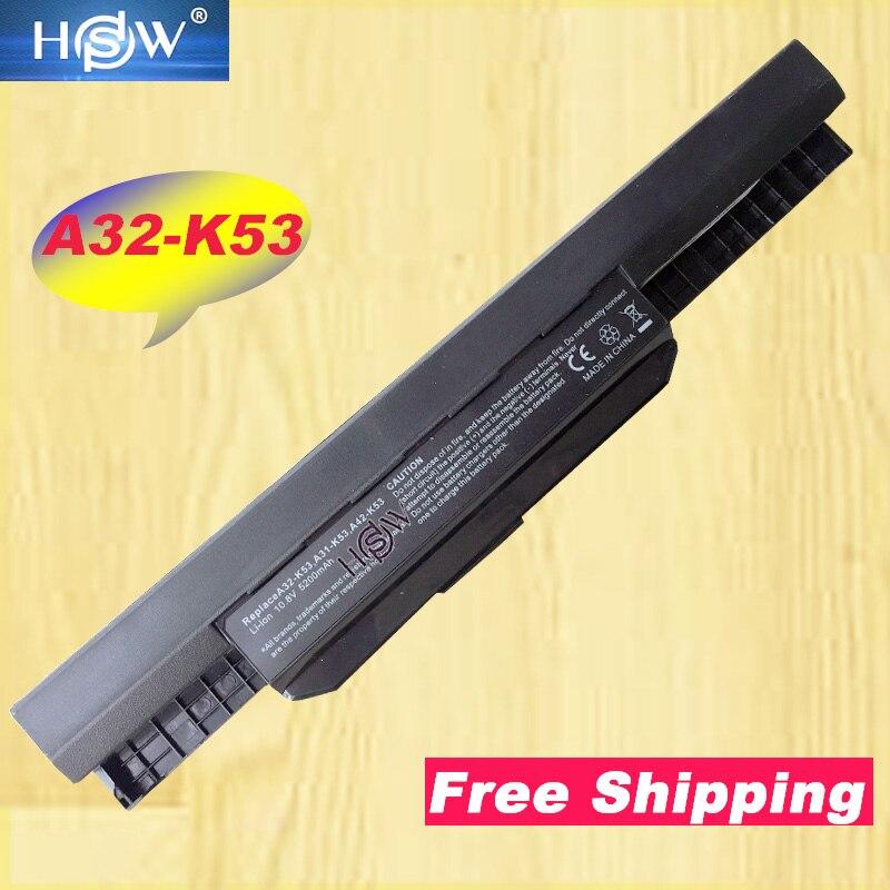 HSW מחשב נייד סוללה עבור ASUS K53SC K53SD K53SJ K53SK K53SM K53SV K43SJ X54C X84 K53S K53 K53SV K53T K53E K53SD x44H סוללה