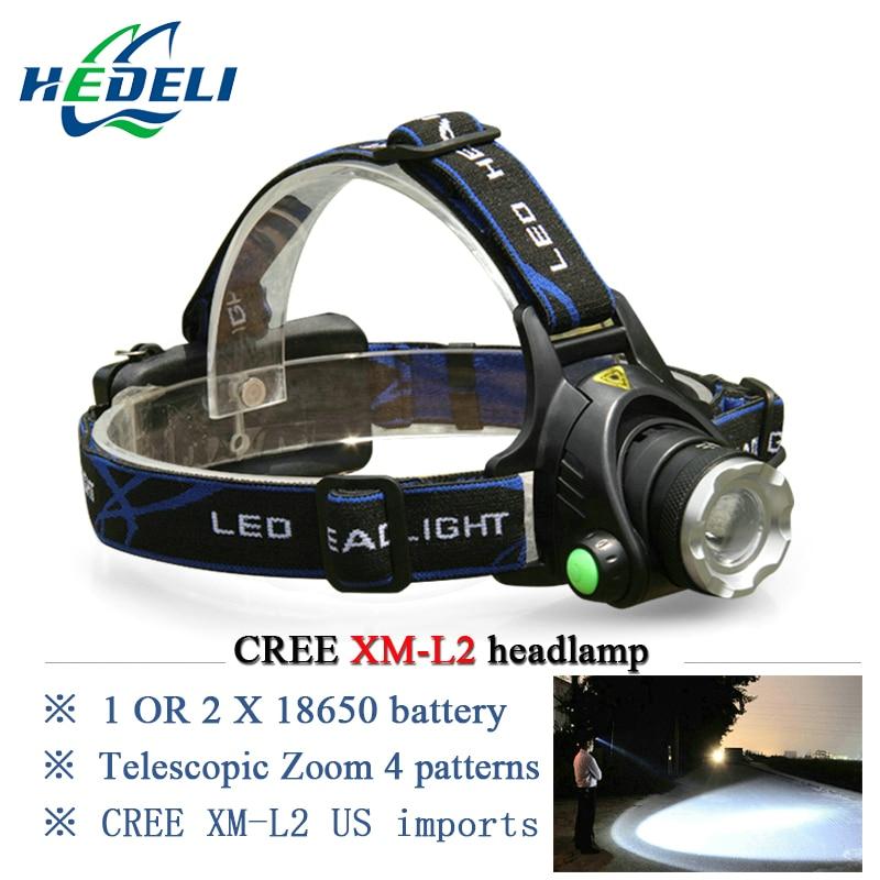 waterproof led headlamp cree xm-l2 XML T6 rechargeable headlight frontal head flashlight lamp camping fishing