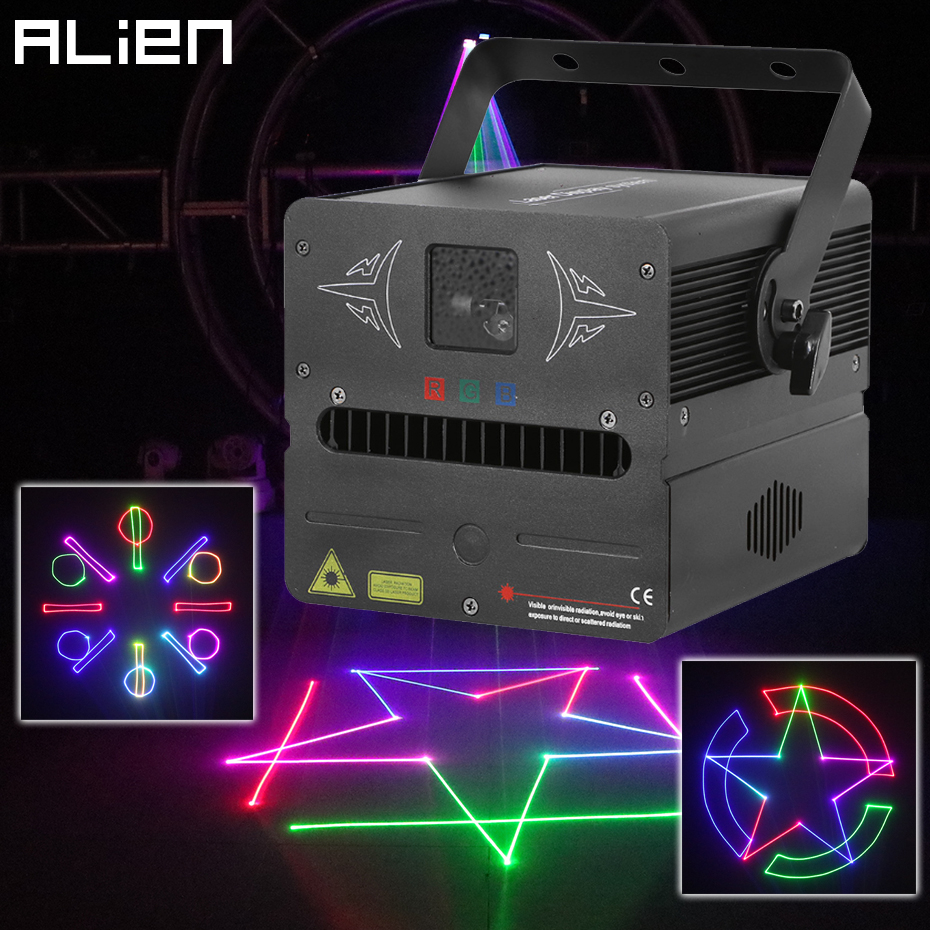 ALIEN 500mW RGB SD Card DMX Animation Stage Laser Lighting Projector Disco DJ Party Wedding Club Bar Professional Effect