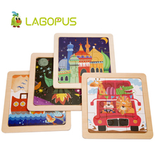 lagopus 9/24 Pcs Wooden Puzzle Cartoon Educational for Children Animal Jigsaw Toys Intelligence Early Training Game