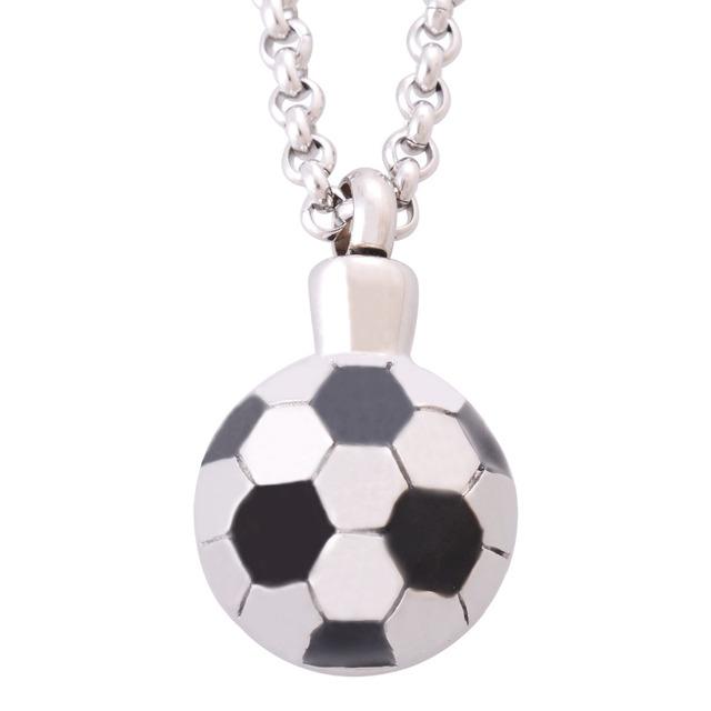 Aço inoxidável de moda de nova futebol pingentes colares para homens Distinctive jóias Ash urnas de cremação memoriais IR190