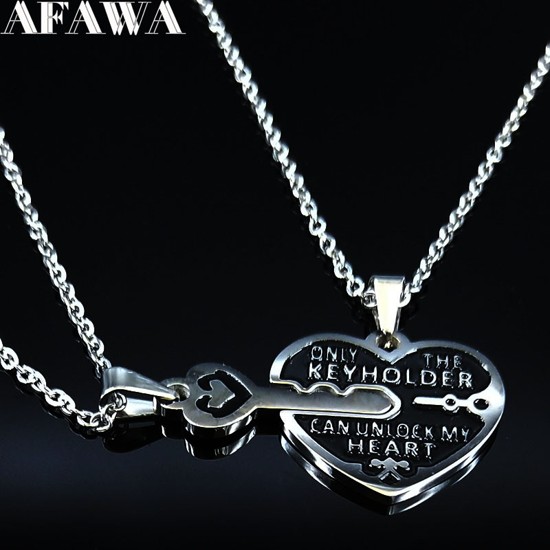 2019 Fashion 2PCS Heart Key Stainless Steel Necklace for Couple Silver Color Couple Necklace Jewelry acero N18877