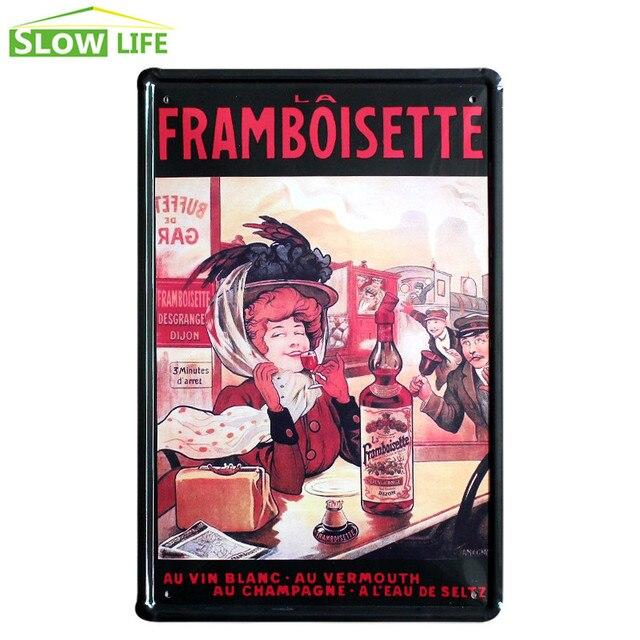 La Framboisette Wine Metal Tin Sign Bar Wall Decor Tin Sign Vintage ...