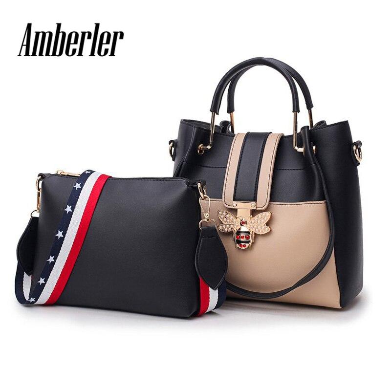 bd3ace4840087 Amberler de lujo de diseñador de mujeres PU bolsos de cuero de moda de gran  capacidad bolso de hombro de mujer 2 unidades conjunto de bolsos de  bandolera
