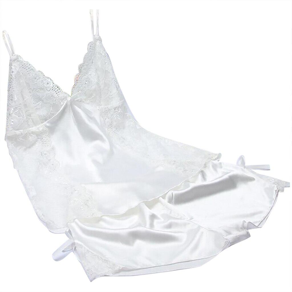 SAGACE new Sexy Lingerie Women Sexy Satin Fashion Lace Bow Pajamas Sleepwear Lingerie Nightwear   Set   Underwear Women Lingerie hot