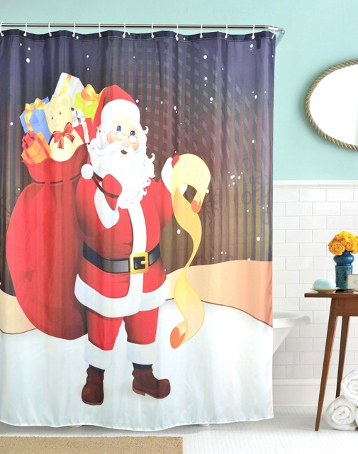 3D Christmas Shower Curtains Waterproof Polyester Bathroom Fabric Santa Claus Bath Rideau De Douche Cortinas