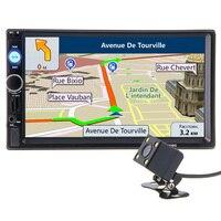 Kamera Ile 2 din Araba Radyo GPS Navigasyon Player Harita 7 HD Dokunmatik Ekran Bluetooth MP3 MP5 Stereo Ses Oto Elektronik Autoradio