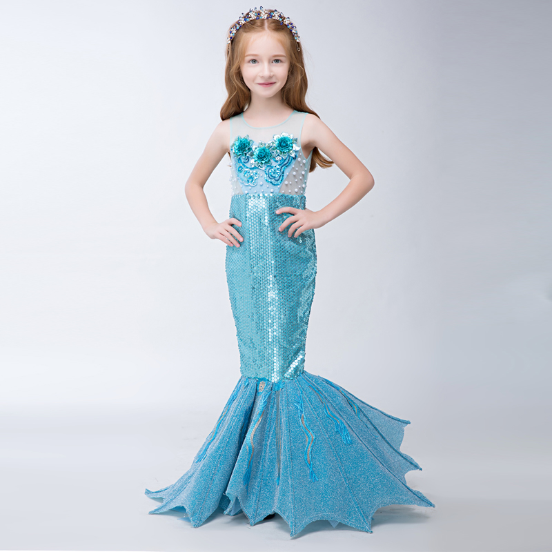 High Quality 2 Colors Girls Prom Dresses Summer 2017 New Princess Wedding Party Dresses Beading Mermaid Fishtail Dress QX190