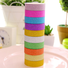 купить 10PCS Glitter Washi Tape Home Decoration Supplies Solid Color Album Notebook Glitter DIY Scrapbooking Masking Tape по цене 258.17 рублей