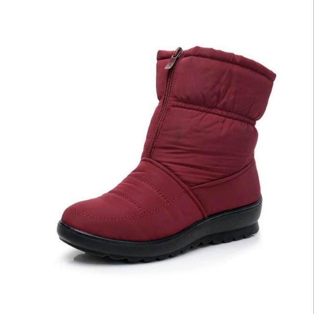 Promosyon kadın çizmeler kar botları kadın ayak bileği platformu takozlar moda kayma-on su geçirmez kış yeni artı kadife sıcak ayakkabı kadın