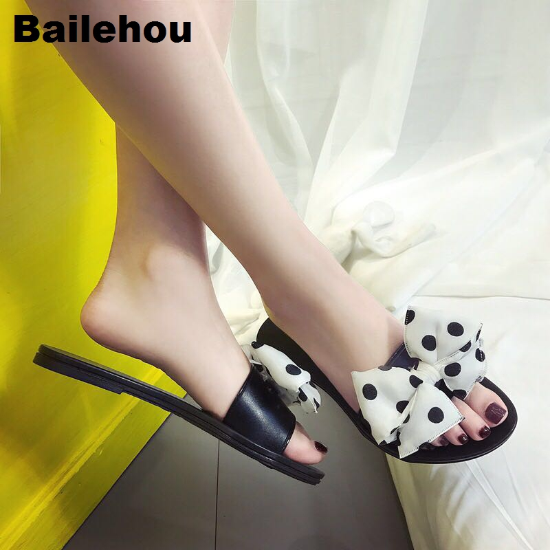 54e5a3ef961ec Bailehou Fashion Women Slippers Flat Women Shoes Polka Dot Butterfly Knot  Slipper Slip On Slides Beach Flip Flops Sandals Female - aliexpress.com -  imall. ...